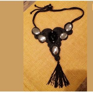 Black Dangling Shaded Fringe art deco Necklace